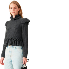 Rib Knit Frill Blouse - Galvanic.co