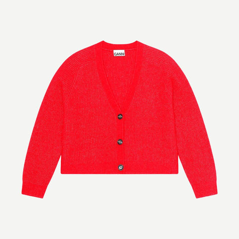 Soft Wool Knit Cardigan in Flame Scarlet - Galvanic.co