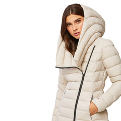 Karelle lightweight down coat with asymmetrical closure - Galvanic.co