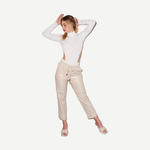 Faux Leather Pull On Pant in Bone - Galvanic.co