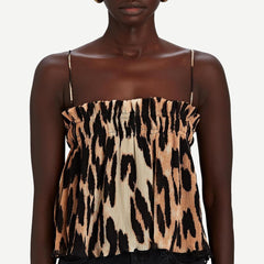 Pleated Georgette Strap Top in Maxi Leopard - Galvanic.co