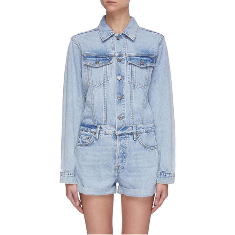 Blue Renata Cuffed Hem Denim Playsuit - Galvanic.co