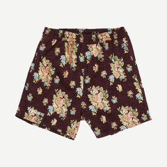 Dejavu Woven Floral Shorts in Maroon - Galvanic.co