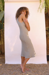 Long Rib Tank Dress in Surplus - Galvanic.co