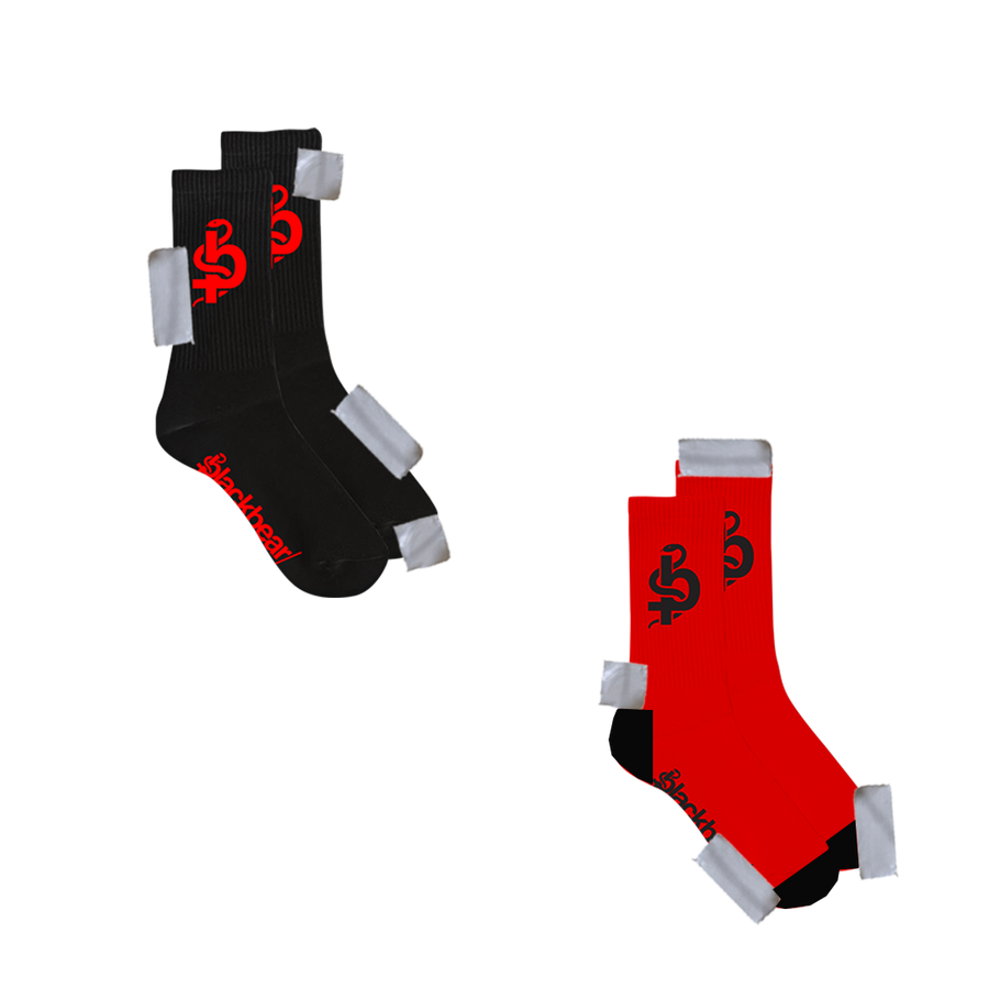 RED AND BLACK  LOGO SOCKS