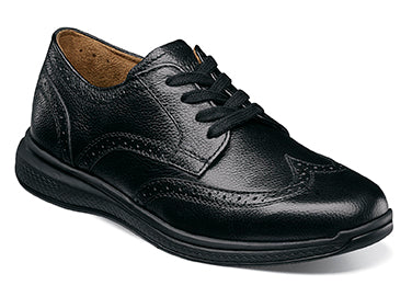 Great Lakes Wingtip Ox., Jr  /  Black Milled Leather