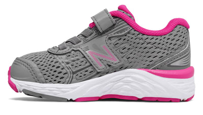 680v5 Velcro - Steel / Pink Glo by New Balance - Ponseti's Shoes