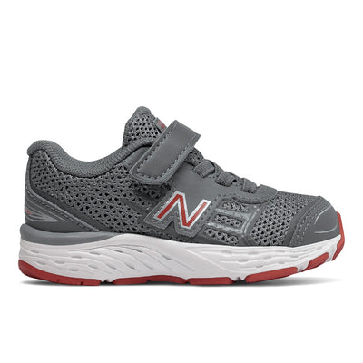 680v5 Velcro - Steel / Red by New Balance - Ponseti's Shoes