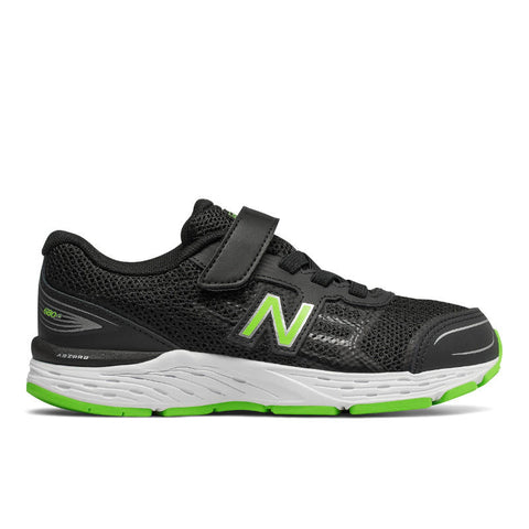 680v5 Velcro - Black/Green by New Balance - Ponseti's Shoes