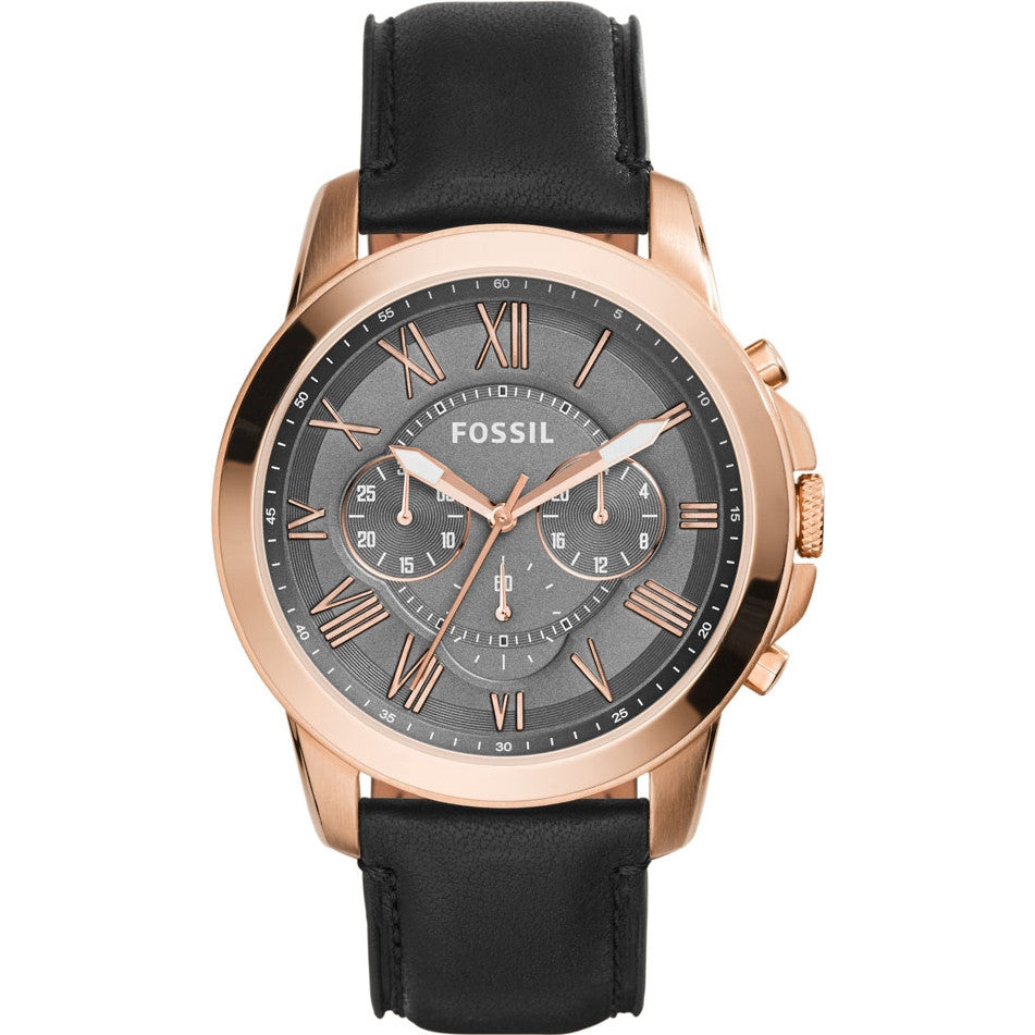 Fossil Mens Black Leather Chronograph Grant Watch - FS5085