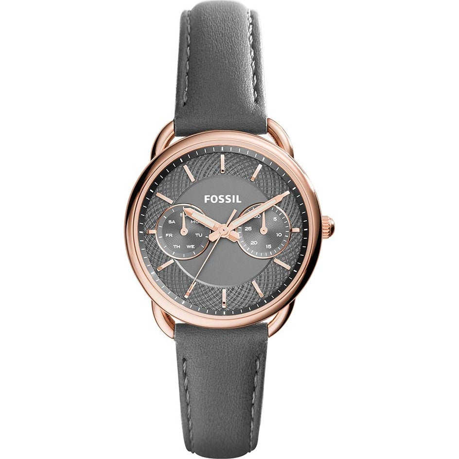 Fossil Ladies Grey Leather Strap Tailor Watch - ES3913