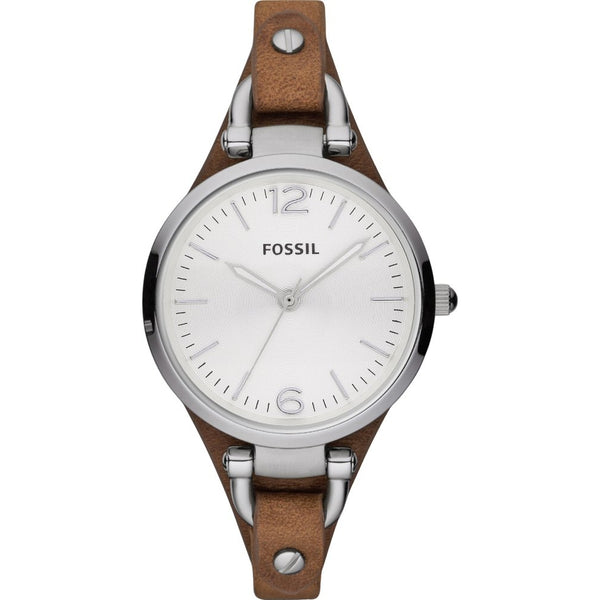 Fossil Ladies Georgia Brown Leather Strap min Watch - ES3060