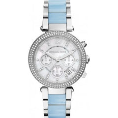Michael Kors Ladies Silver x Blue Parker Watch - MK6138