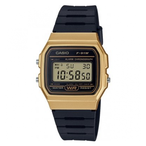 Casio Unisex Black x Gold Digital Watch - F-91WM-9A