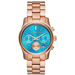 Michael Kors Ladies Rose Gold x Blue Runway Watch - MK6164