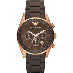 Emporio Armani Mens Brown Silicone Sport Watch - AR5890