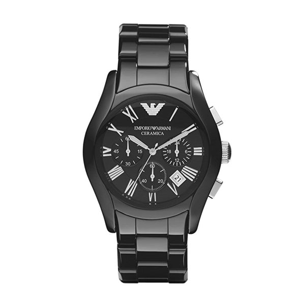 Emporio Armani Mens  Black Ceramic Chronograph Watch - AR1400