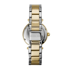 Michael Kors Ladies Gold White Parker Two-Tone Watch - MK6055