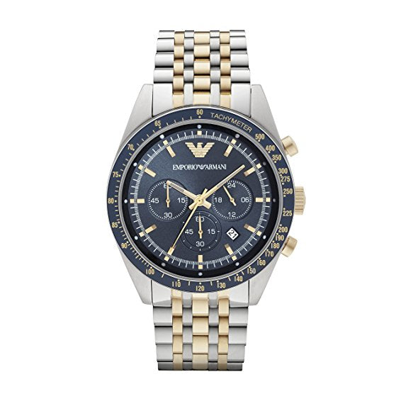 Emporio Armani Mens Gold x Silver Chronograph Watch - AR6088