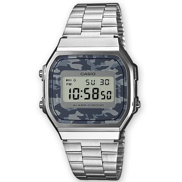 Casio Unisex Silver x Camo Stainless Steel Digital Watch - A168WEC-1EF