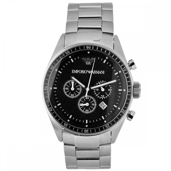 Emporio Armani Mens Black x Silver Stainless Steel Watch - AR0585