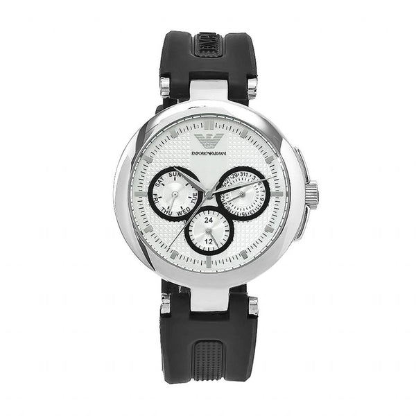 Emporio Armani Ladies Black x Silver Rubber Donna Watch - AR0735