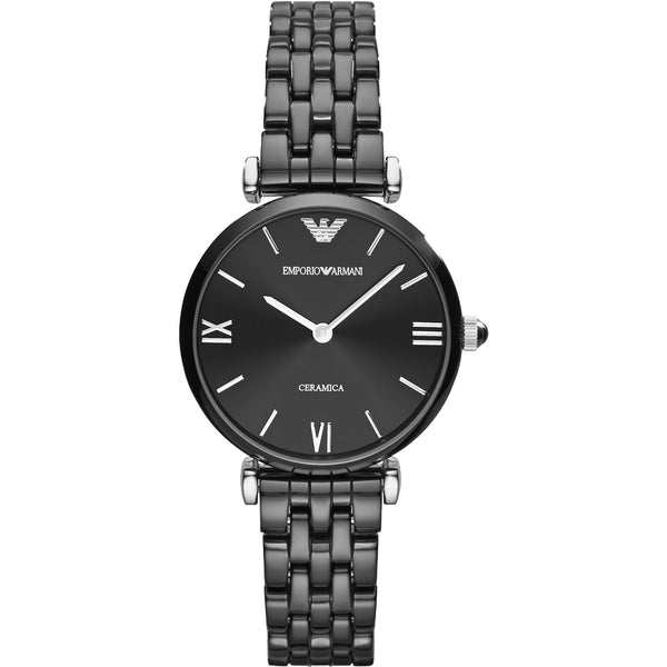 Emporio Armani Ladies Black Ceramic Watch - AR1487