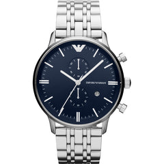 Emρorio Armani Mens Silver x Blue Chronograph Watch -  AR1648