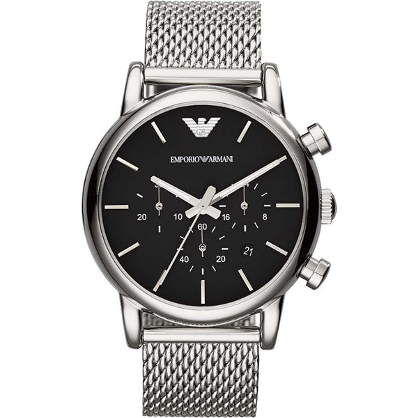 Emporio Armani Mens Silver x Black Luigi Watch - AR1811