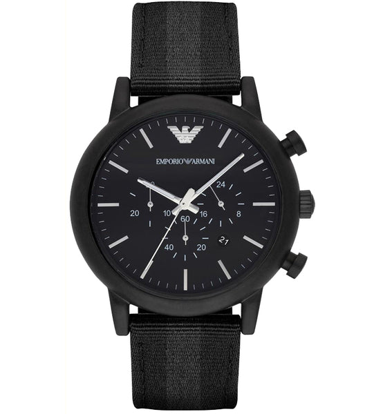 Emporio Armani Mens Black Luigi Nylon Watch - AR1948