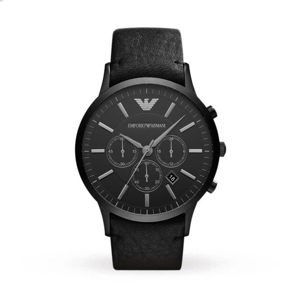 Emporio Armani Mens Black Leather Chronograph Watch - AR2461