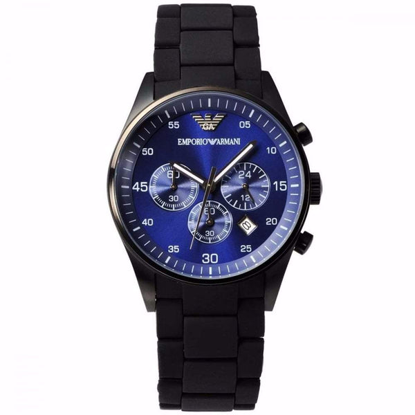 Emporio Armani Mens Black x Blue Dial Chronograph Watch - AR5921
