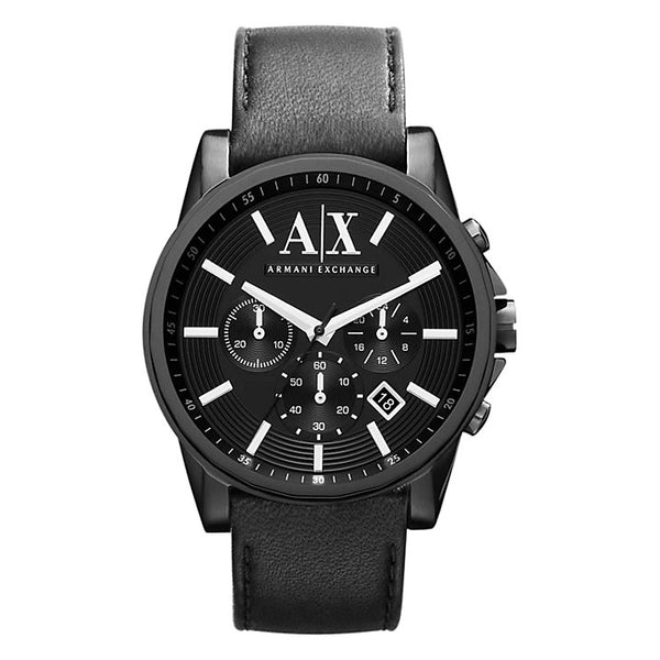 Armani Exchange Mens Black Leather Chronograp Watch - AX2098
