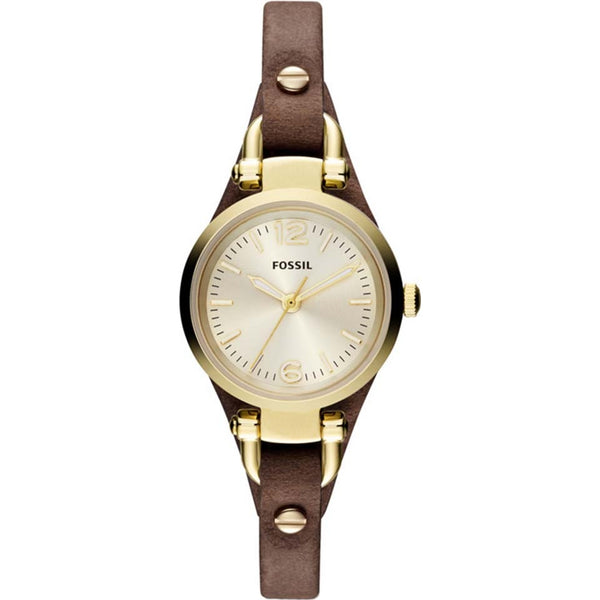 Fossil Ladies Brown Leather Strap Mini Georgia Watch - ES3264