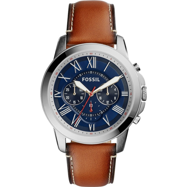 Fossil Mens Brown Leather Grant Chronograph Watch - FS5210