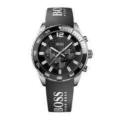 Hugo Boss Mens Black x Silver Ion-Plated Chronograph Watch - HB1512868