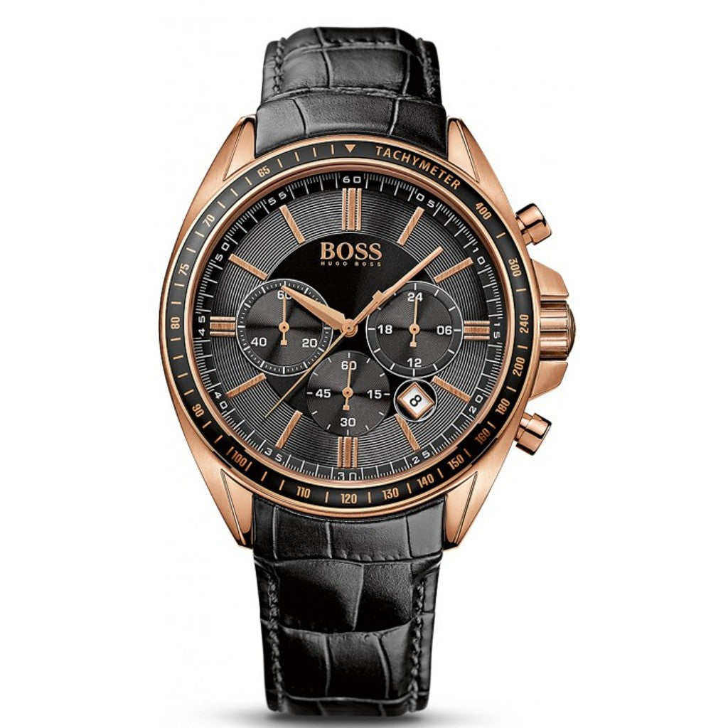 Hugo Boss Mens Black Croc Embossed Leather Watch - HB1513092