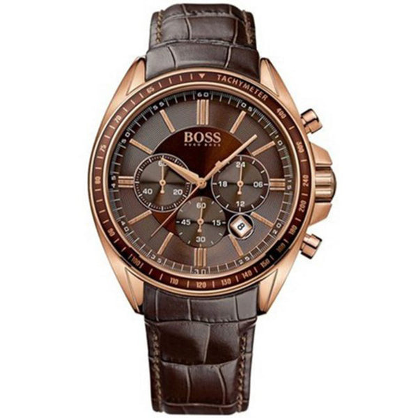 Hugo Boss Mens Brown Croc-Embossed Leather Watch - HB1513093