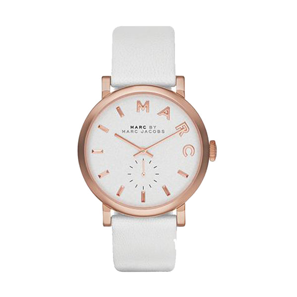 Marc Jacobs Ladies White x Rose Tone Baker Watch - MBM1283
