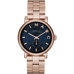 Marc Jacobs Ladies  Rose Gold x Navy Baker Watch - MBM3330