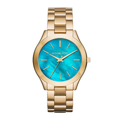 Michael Kors Ladies Slim Gold Tone Runway Watch - MK3492