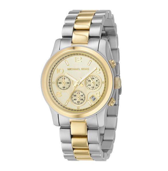 Michael Kors Ladies Silver Gold Two-Tone Runway Watch - MK5137