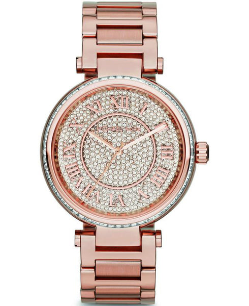 Michael Kors Ladies Rose Gold Crystal Pave Skylar Watch - MK5868