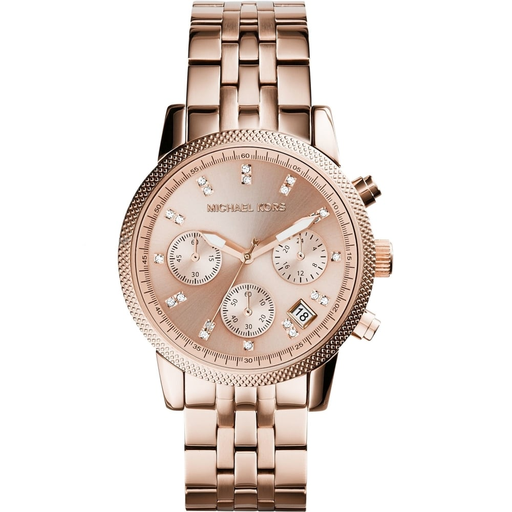 Michael Kors Ladies Rose Gold Chronograph Ritz Watch - MK6077