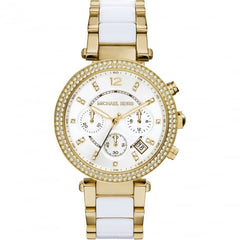 Michael Kors Ladies Gold x White Parker Watch - MK6119