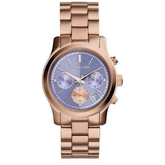 Michael Kors Ladies Rose Gold x Lavender  Runway Watch - MK6163