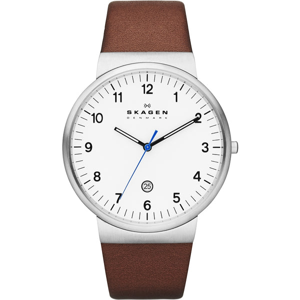 Skagen Klassik Men's Silver x Brown Leather Ancher Watch - SKW6082