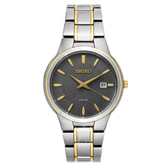 Seiko Mens Grey Two-Tone Sonar Display Analogue Watch - SNE404