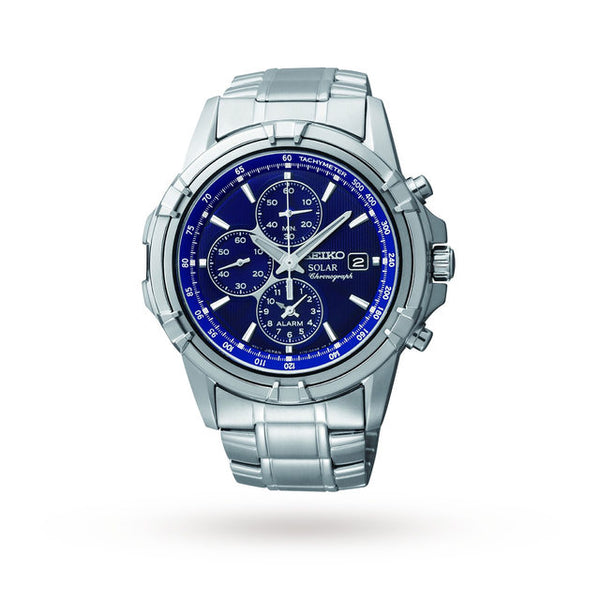 Seiko Mens Silver x Blue Solar Powered Chronograph Watch - SSC141P1