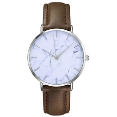 Watch 101 Unisex Brown Leather Marble Dial Watch - W101MBRN